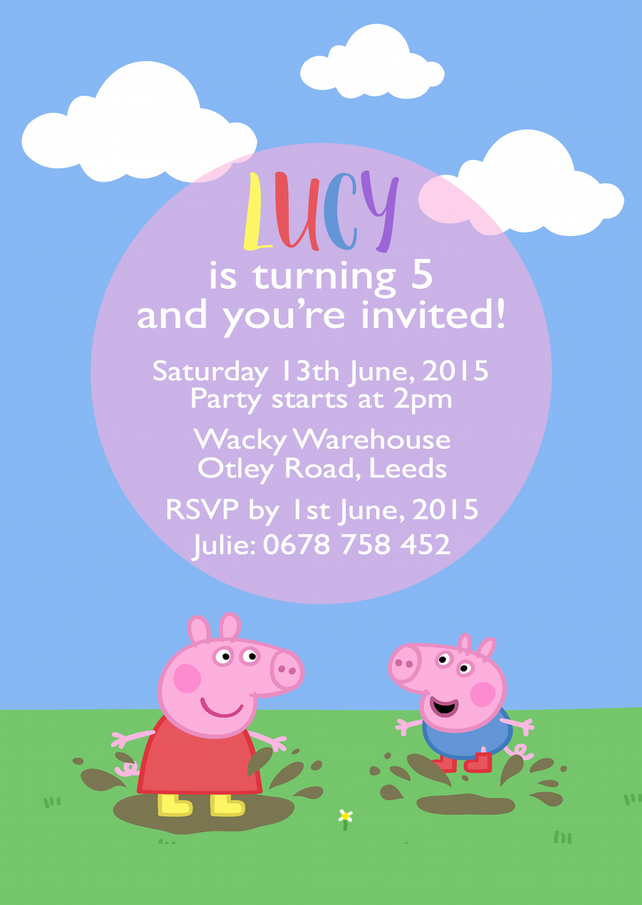 PEPPA PIG PARTY INVITATIONS CUSTOM PRINTABLE