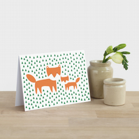 Fox and Cub in the Grass Card