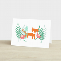 Fox in the Flowers Card