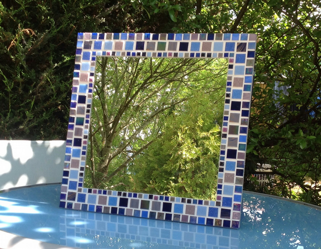 Square Mosaic Wall Mirror in shades of Blue & Purple 40cm