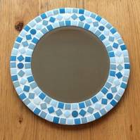 Round Mosaic Bathroom Wall Mirror in shades of Blue 30cm