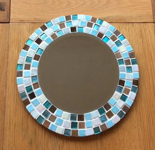 Round Mosaic Wall Mirror in Turquoise, Brown and Cream 30cm