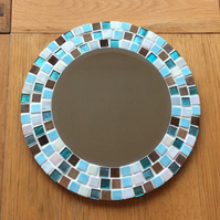 Round Mosaic Wall Mirror in Turquoise, Brown and Cream 30cm Bathroom Mirror
