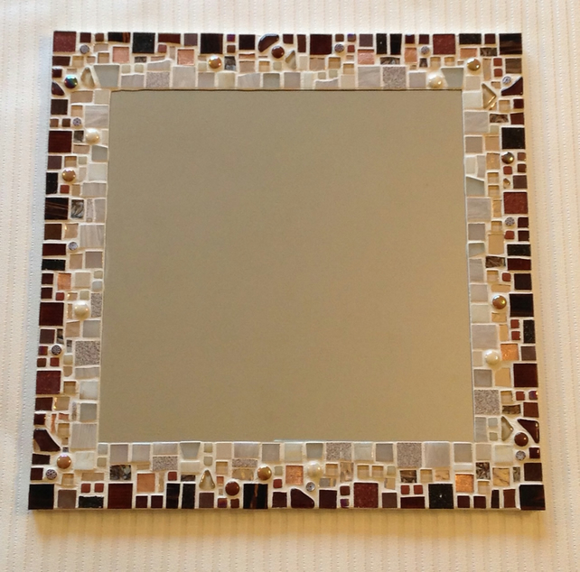 Large Mosaic Wall Mirror in shades of Brown, Copper & Cream 40cm - Made to Order