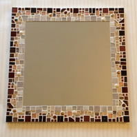 Large Mosaic Wall Mirror in shades of Brown, Copper & Cream 40cm - Bathroom