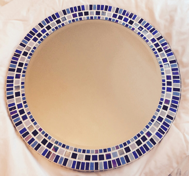 Round Mosaic Bathroom Mirror in shades of Blue 50cm - Made to Order