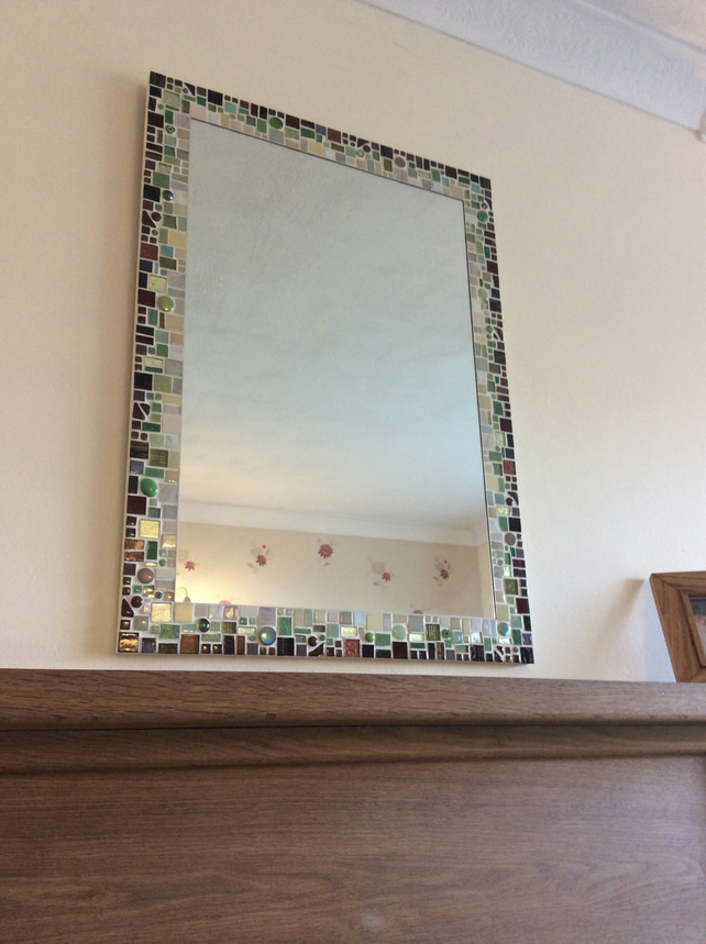 Large Rectangular Mosaic Wall Mirror in shades of Brown, Green & Cream  50x70cm