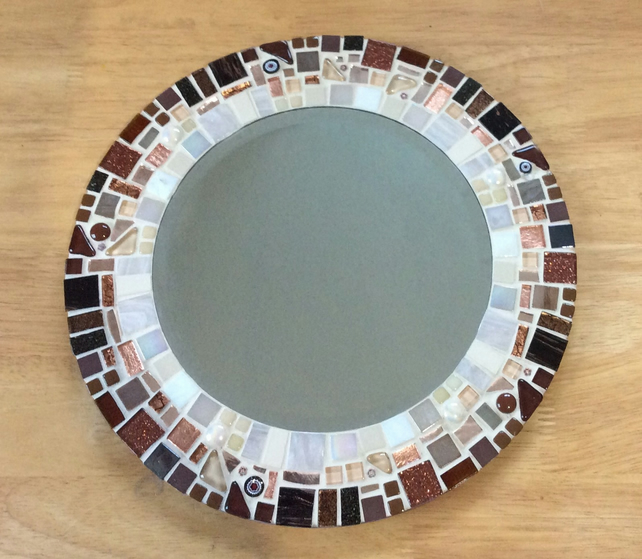 Round Mosaic Wall Mirror in shades of Brown, Copper & Ivory 30cm Bathroom