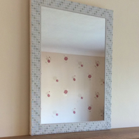 Large Mosaic Wall Mirror in White & Silver 50 x 70cm Rectangular Bathroom