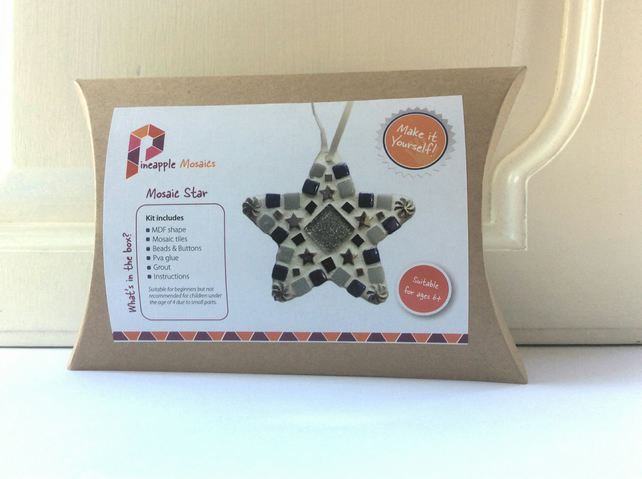 Mosaic Craft Kit - Xmas Star Christmas Decoration DIY Kids Crafts