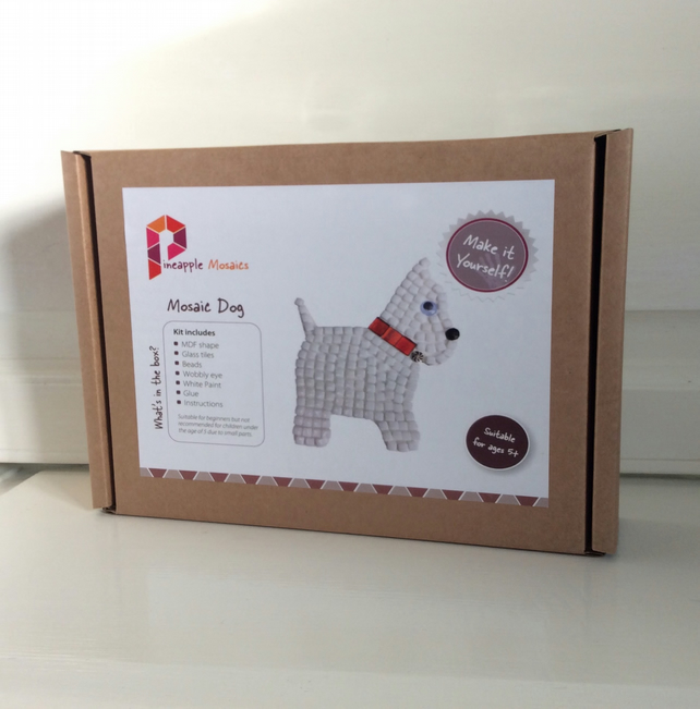 Mosaic Craft Kit, White Dog Gift, DIY Kids Craft, Stocking Filler