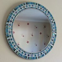 Large Round Mosaic Wall Mirror in Turquoise, Teal & Grey 50cm Bathroom Mirror