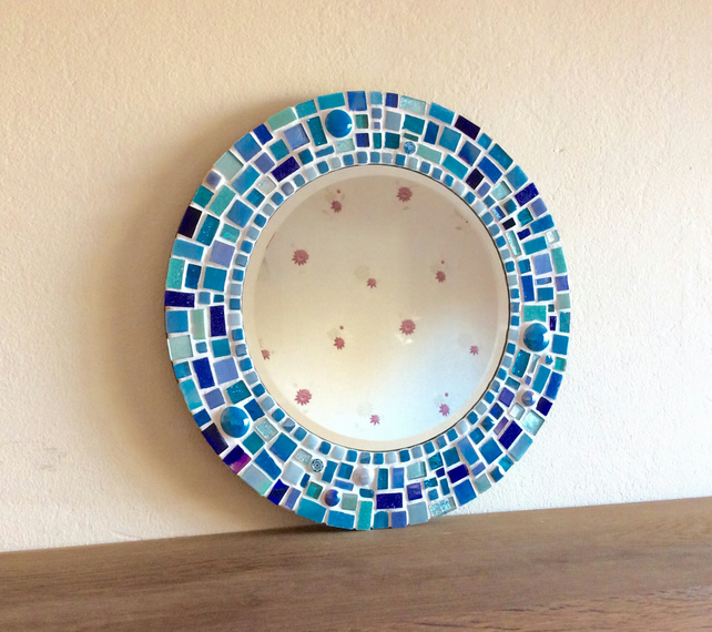 Round Mosaic Wall Mirror in shades of Turquoise, Blue & Teal 30cm Bathroom