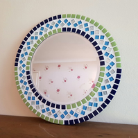 Round Mosaic Mirror 30cm in Blue & Green Bathroom Mirror