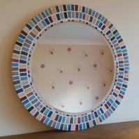 Round Mosaic Wall Mirror 40cm Multi-Coloured Mirror