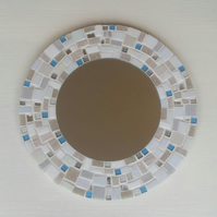 Round Mosaic Wall Mirror 30cm in White, Ivory & Blue Turquoise Bathroom Mirror
