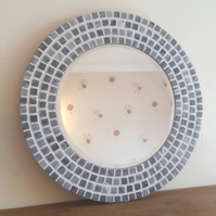 Round Marble Mosaic Wall Mirror 30cm Grey Stone Bathroom Mirror