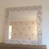 Large Mosaic Wall Mirror 50cm in Gold & Cream