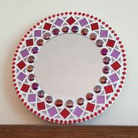 Round Mosaic Wall Mirror 30cm in Red & Purple