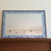 Large Mosaic Wall Mirror 70x50cm in shades of Blue Turquoise
