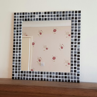 Mosaic Wall Mirror in Black & Silver 40cm Square Bathroom Mirror