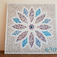 Mosaic Wall Art - Personalised Wedding Gift - Mosaic Flower Purple & Blue