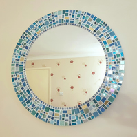 Round Mosaic Wall Mirror 50cm in shades of Teal, Aqua, Turquoise & Yellow