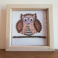 Mosaic Owl Wall Art, Brown Owl Gift, Owl Picture, Glass Art