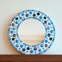 Mosaic Wall Mirror Round 30cm Blue Turquoise Teal Bathroom Mirror