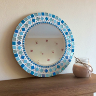 Mosaic Wall Mirror Round 30cm in shades of Blue, Aqua, Turquoise Bathroom Mirror