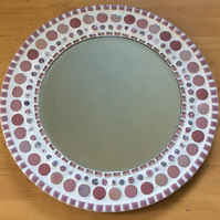 Mosaic Wall Mirror Round 30cm in Pink - Bedroom Mirror