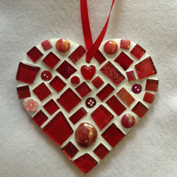 Red Mosaic Heart, Heart Wall Art, Heart Decor, Love Heart, Heart Gift, Glass Art