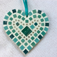 Teal Mosaic Heart, Wall Art, Heart Decor, Love Heart, Heart Gift, Glass Art