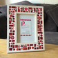 "Red Mosaic Photo Frame 6x4"" Picture Frame, Glass Art, Christmas Gift"