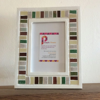 "Mosaic Photo Frame in Green, Brown 6x4"" Picture Frame, Glass Art, Christmas Gift"