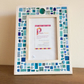 "Turquoise Mosaic Photo Frame 6x4"" Picture Frame, Glass Art, Christmas Gift"
