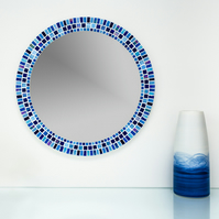 Round Mosaic Bathroom Mirror in shades of Blue 50cm - Bathroom Mirror