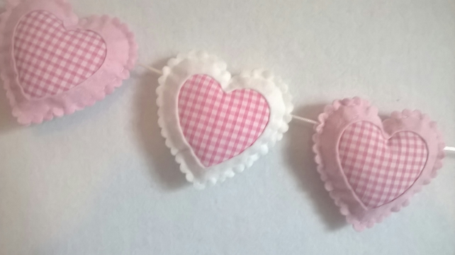 Pink and White Gingham Hearts,Girls Bedroom, Nursery, Baby Room Decoration,