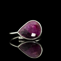 Stunning Ruby Two Tone Sterling Silver ring