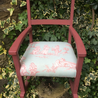 Vintage Upcycled Child's Chair Reupholstered in Delightful Cat Print Fabric