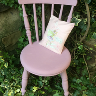 Vintage child's Upcycled chair with little cushion fabric depicting flower fairi