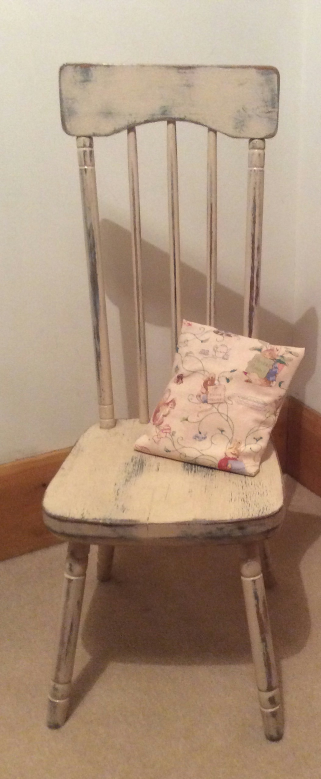 Vintage child's chair with Beatrix Potter vintage fabric cushion