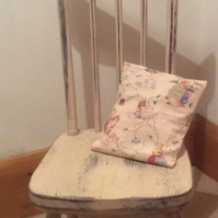 Vintage tall child's chair with Beatrix Potter vintage fabric cushion
