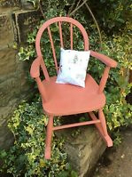 Child's vintage rocking chair , Scandinavian pink, upcycled with vintage cushion