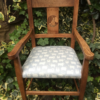 Arts and crafts child's chair - inlaid - Little Bo Peep - sheep fabric