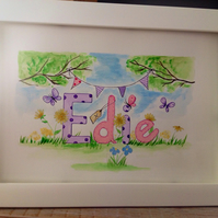 "Example of Girls personalised name framed 14""x10"" unique watercolour painting"