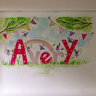 Example of Child's personalised framed watercolour