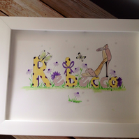 Rebecca,framed commissioned personalised watercolour picture
