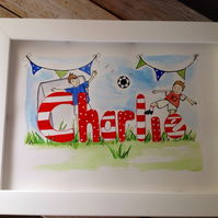 Charlie,personalised framed watercolour picture