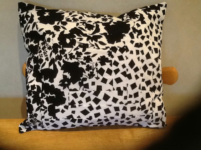 Black and white log cabin patchwork cushion